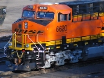 A very Brand new BNSF 6620 reflects the early morning rays of sunlight in the BNSF yard
